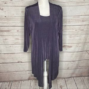 Chico's Travelers Purple Twin Set Sz 2 Large